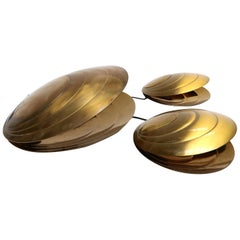 Set of Three Angelo Brotto Brass Clam Shell Table Lamps