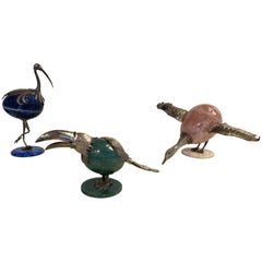 Set of Three Animals in Mineral and Silver