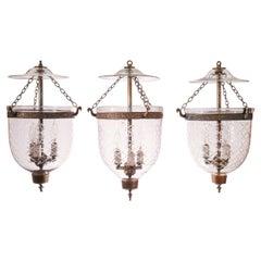 Set of Three Antique Bell Jar Lanterns with Diamond Etching
