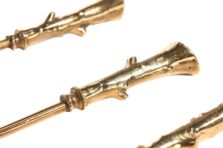 European Set of Three Antique Brass Fire Irons For Sale