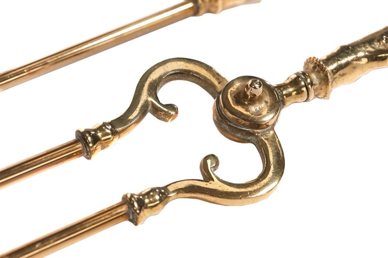 Set of Three Antique Brass Fire Irons In Excellent Condition For Sale In Stutton, GB