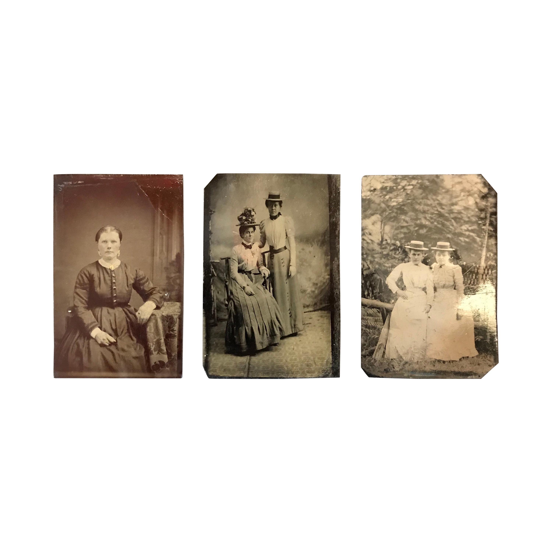 Set of Three Antique Tintypes of Women
