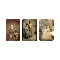 Set of Three Antique Tintypes of Women