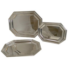 Set of Three Antique English Graduated Serving Trays or Platters, Mappin & Webb