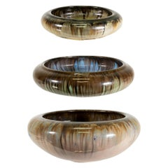 Set of Three Antique Fulper Pottery Bowls