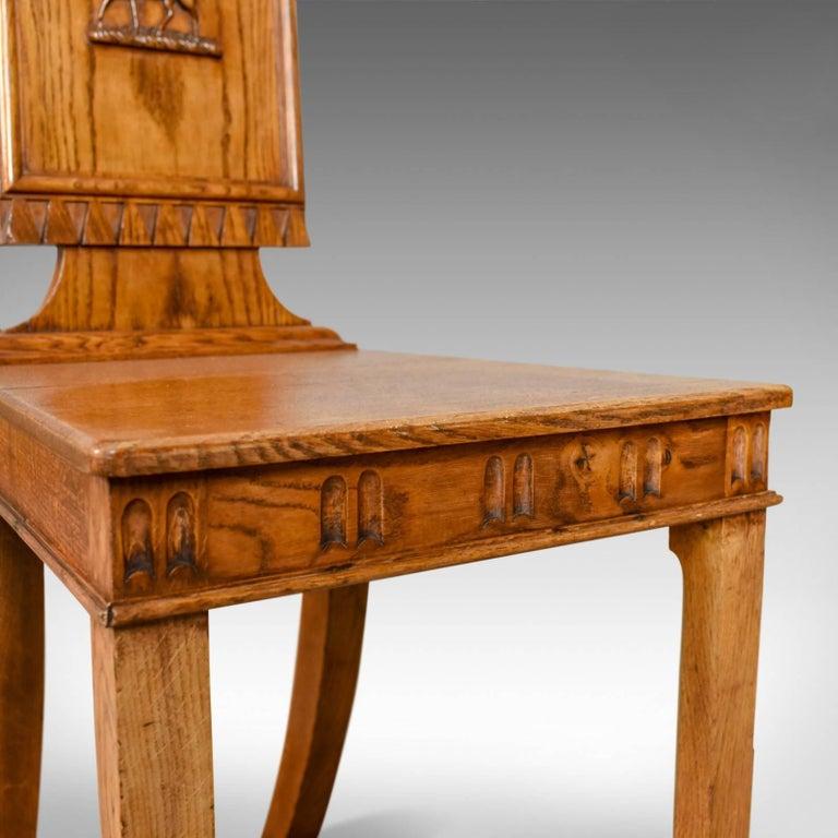 Set of Three Antique Hall Chairs, Oak, Scottish, Stag, Regency, circa 1820 6