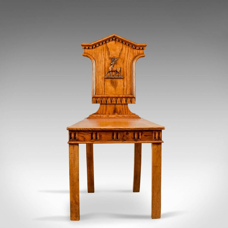 Set of Three Antique Hall Chairs, Oak, Scottish, Stag, Regency, circa 1820 In Good Condition In Hele, Devon, GB