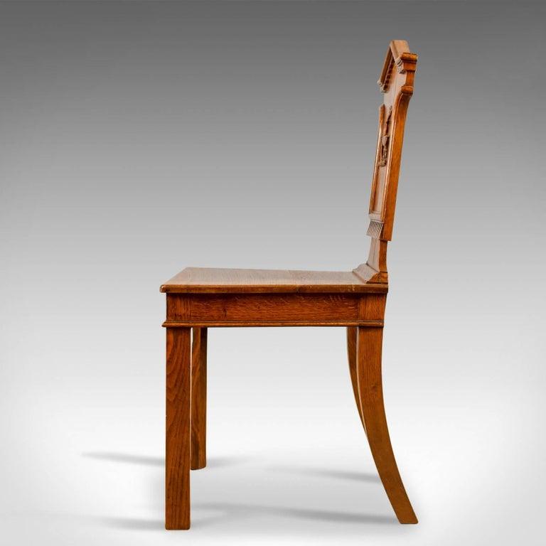 19th Century Set of Three Antique Hall Chairs, Oak, Scottish, Stag, Regency, circa 1820