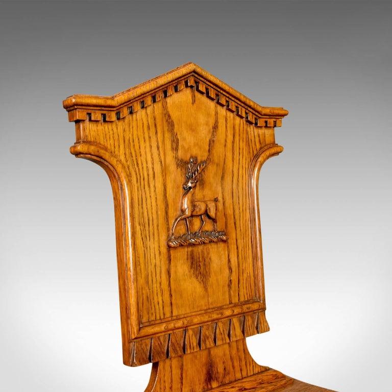 Set of Three Antique Hall Chairs, Oak, Scottish, Stag, Regency, circa 1820 2