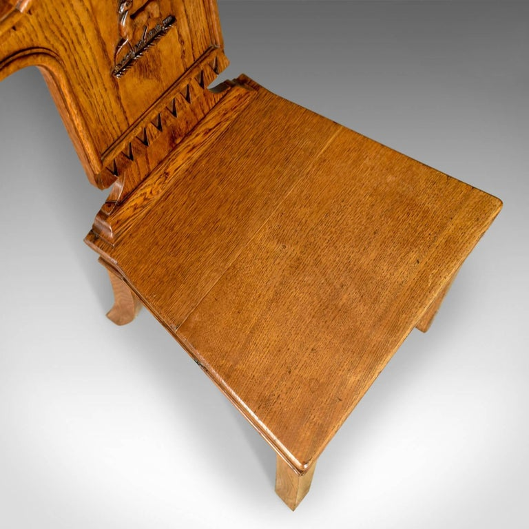 Set of Three Antique Hall Chairs, Oak, Scottish, Stag, Regency, circa 1820 5