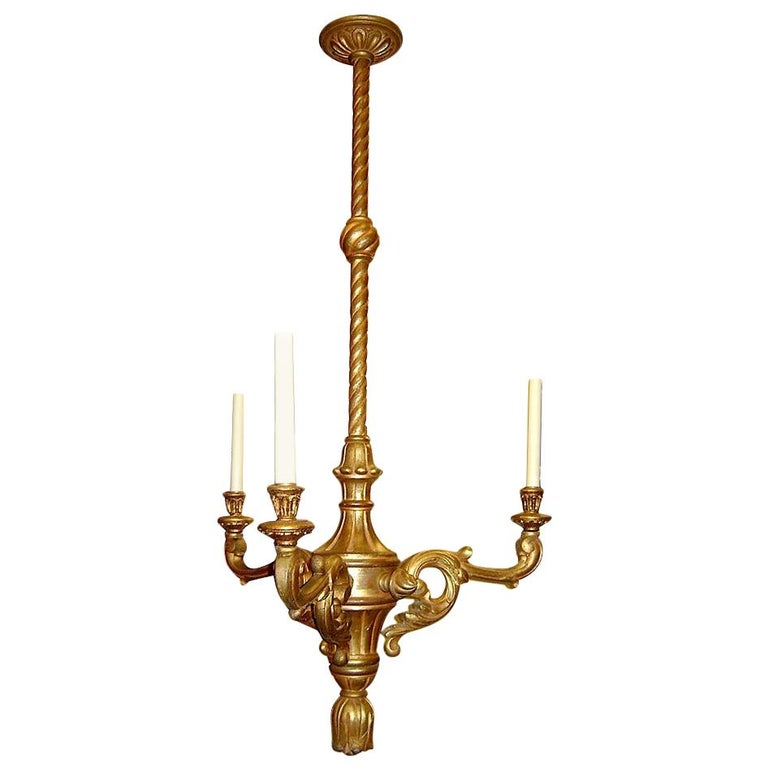 Set of Three Antique Italian Giltwood Chandeliers For Sale