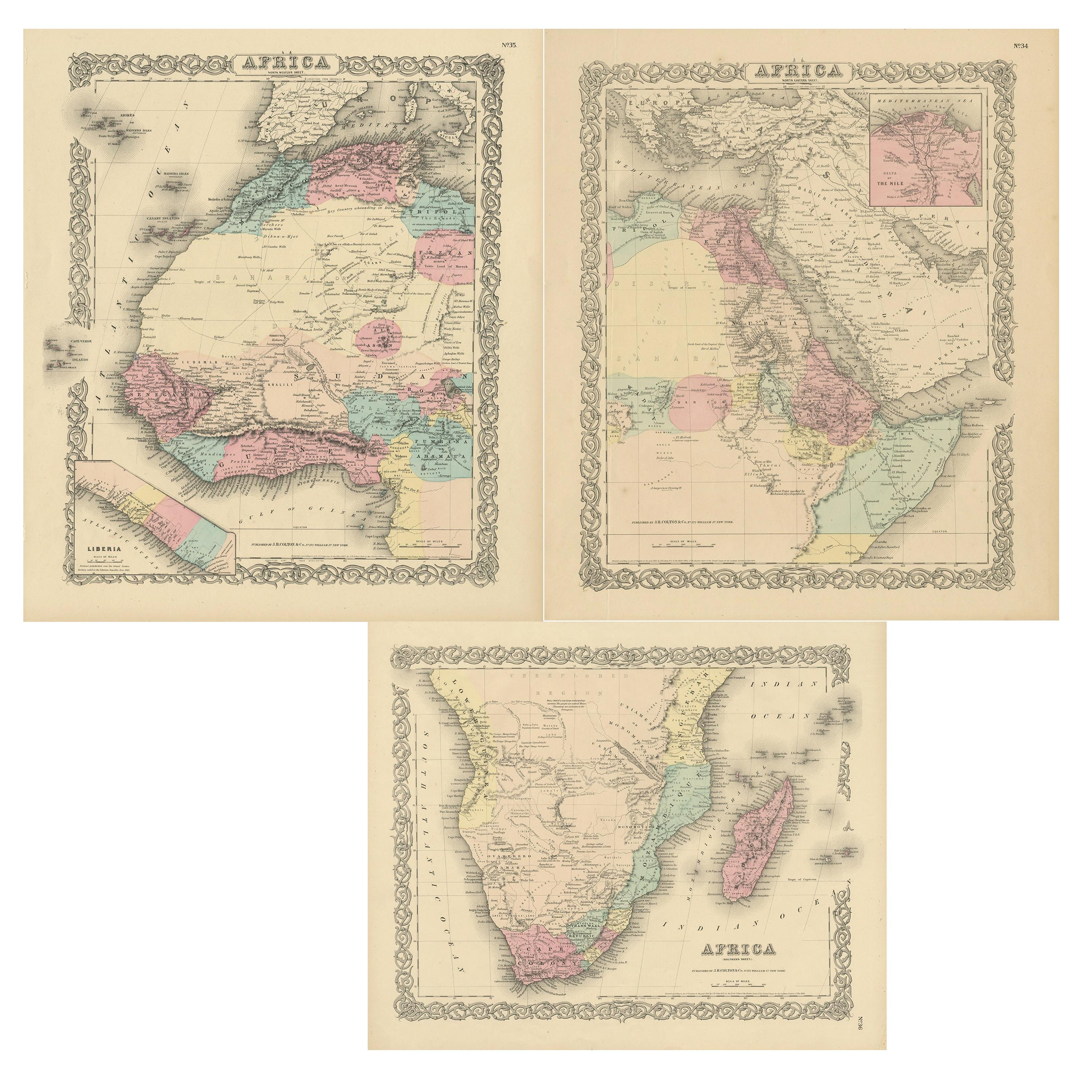 Set of Three Antique Maps of Africa by Colton (circa 1855)