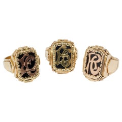 Set of Three Antique Massive Men's Signet Rings, 14 Karat Gold with Onyx