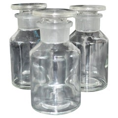 Set of Three Apothecary Glass Bottles with Stoppers