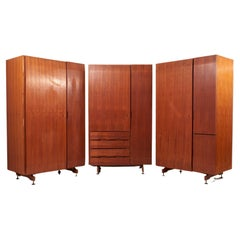 Set of Three Architectural Cabinets in Mahogany, Italy 1960s
