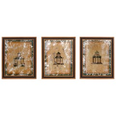 Set of Three Architectural Pagoda Paintings