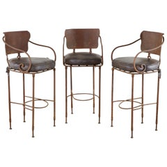 Set of Three Arhaus Iron and Leather Barstools