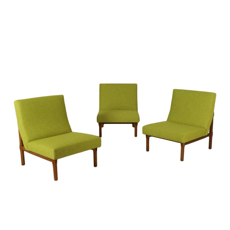 Set of Three Armchairs Ico Parisi for Cassina Teak Vintage, Italy, 1960s