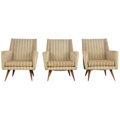 Set of Three Armchairs of the 1950s, Attributed to Melchiorre Bega