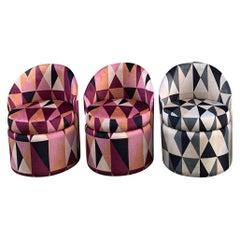 Set of Three Art Deco Club Chairs with Kirkby Geometric Design Velvet, 1940s