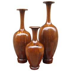 Set of Three Art Deco Decorative Wooden Vases