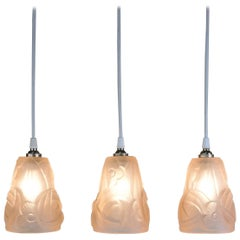 Set of Three Art Deco Glass Shade Pendant Light by Degue