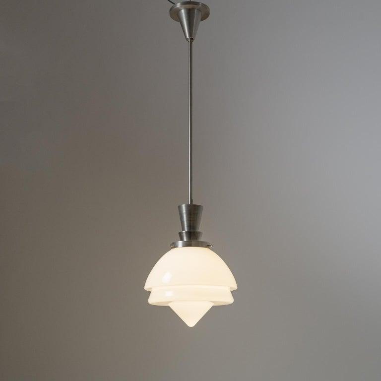 German Set of Three Art Deco Nickel and Glass Pendants For Sale