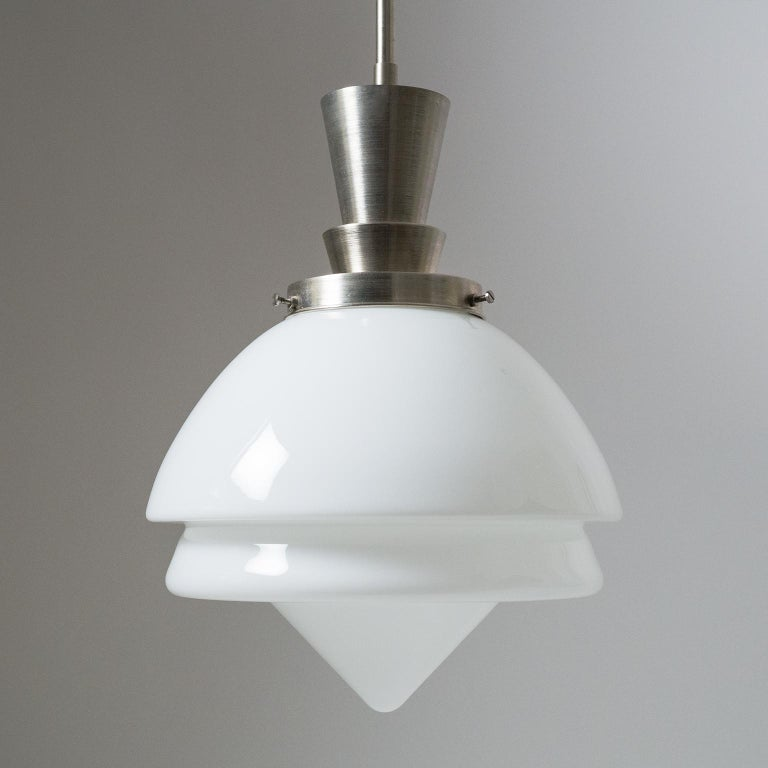 Mid-20th Century Set of Three Art Deco Nickel and Glass Pendants For Sale
