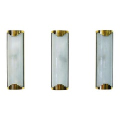 Set of Three Art Deco Wall Lamps from the 1930s-1940s