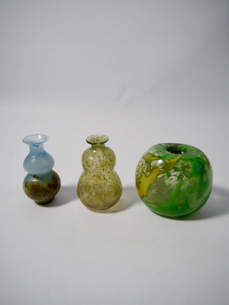 Set or three distinct Murano style art glass vases designed by Gro Bergslien (1940-1991), and fabricated at Hadeland Glassverk (established 1792). Signed at bottom.