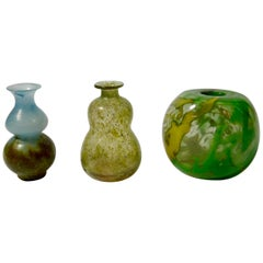 Set of Three Art Glass Vases by Gro Bergslien for Hadeland, Norway, 1970s