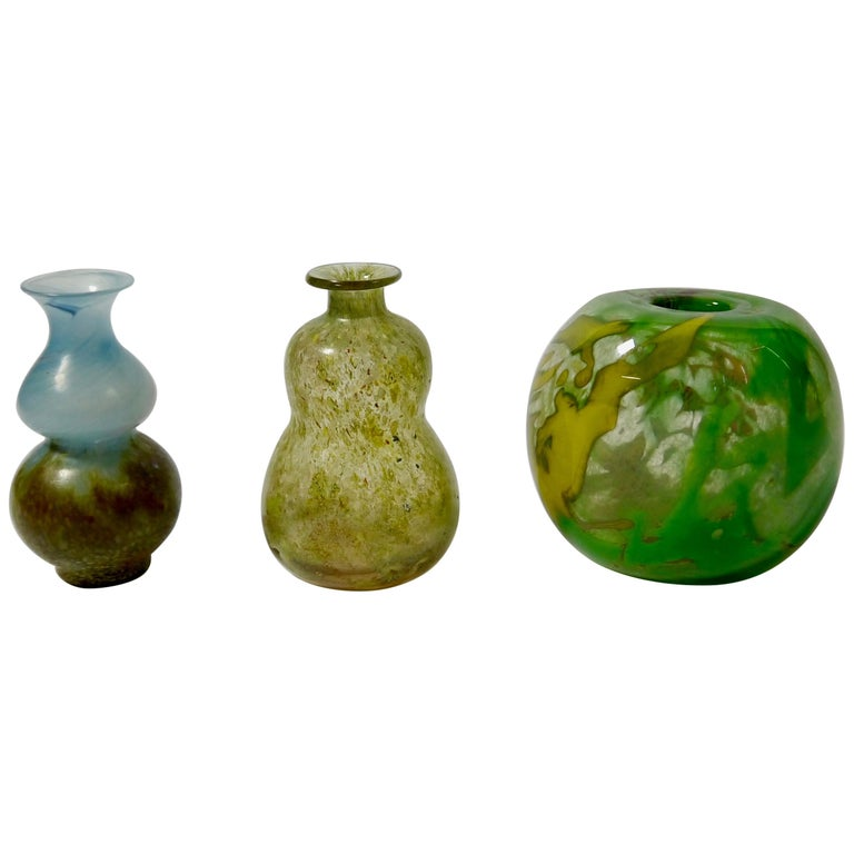 Set of Three Art Glass Vases by Gro Bergslien for Hadeland, Norway, 1970s For Sale