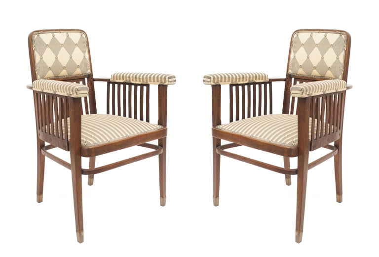 Set of three Austrian bentwood 'Secessionist' beechwood loveseat and two armchairs with slat design and upholstered seat and back 'J&J KOHN paper label under seat' (2 arms: JOH020; loveseat: JOH021).  Measurements:  Loveseat: 48