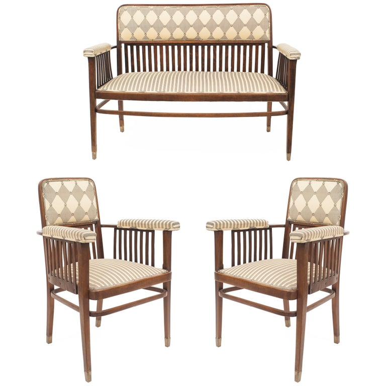 Set of Three Austrian Bentwood 'Secessionist' Chair Set For Sale