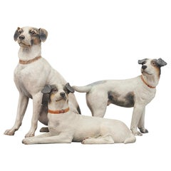 Set of Three Austrian Hand Painted Terracotta Jack Russell Terriers, circa 1900