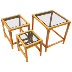 Set of Three Bamboo Nesting Side Tables with Smoked Glass Top, Spain, 1960s