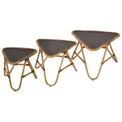 Set of Three Bamboo Nesting Tables by Rohé Noordwolde, The Netherlands, 1950s