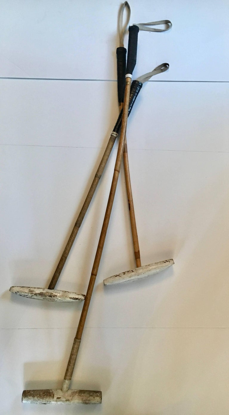 Set of Three Bamboo Polo Mallets For Sale 1