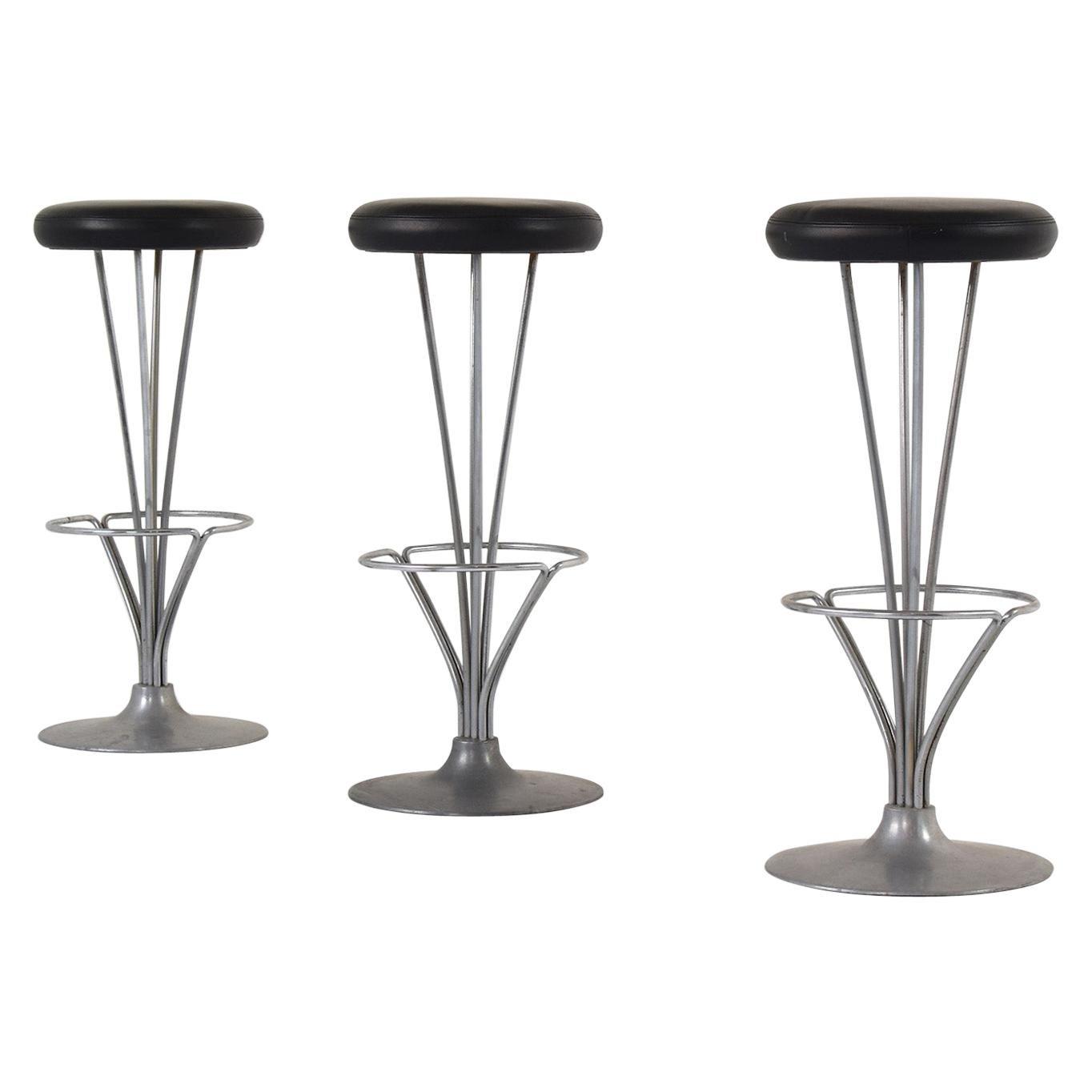 Set of Three Bar Stools by Piet Hein for Fritz Hansen, Denmark, 1960s