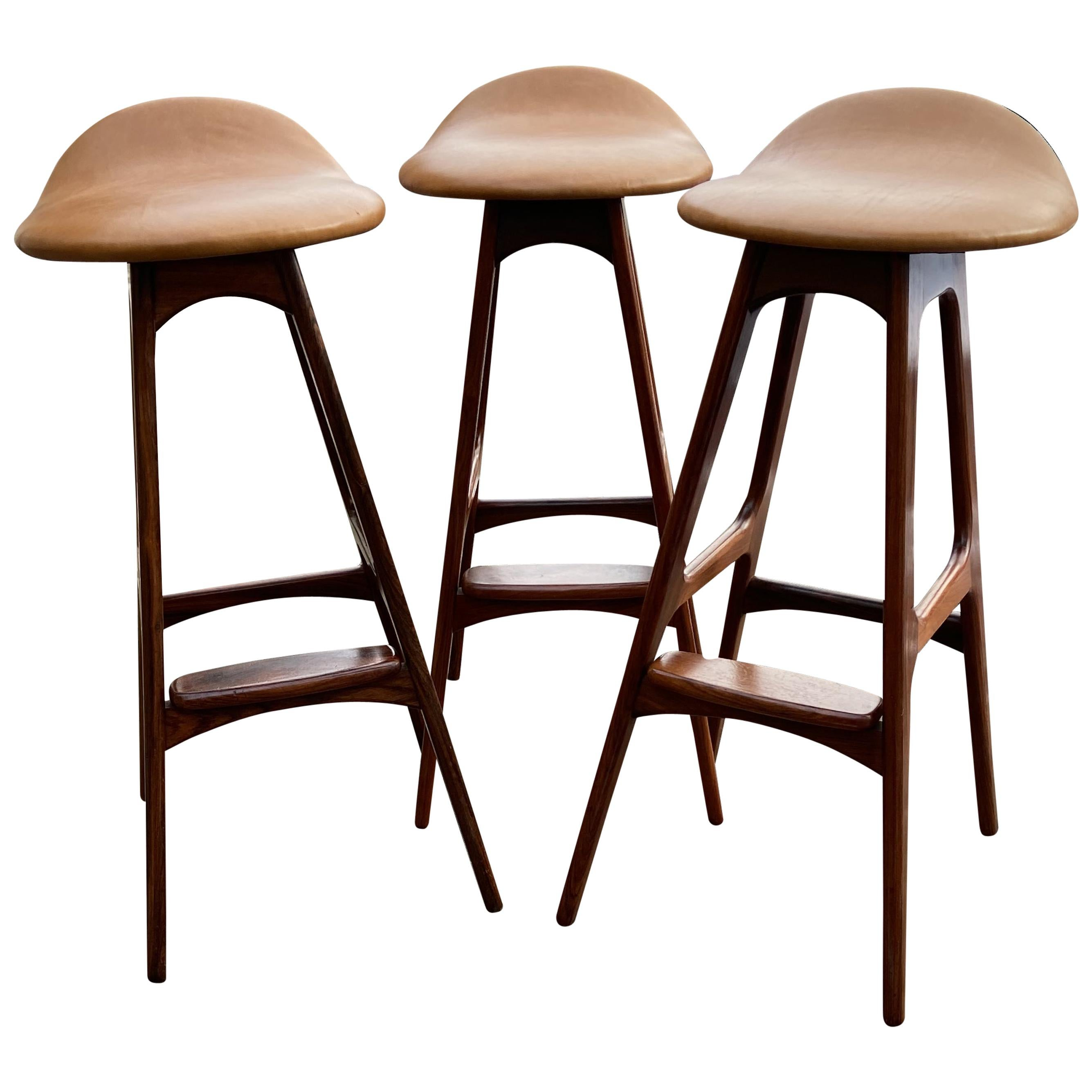 Set of Three Barstools by Erik Buch for O.D. Mobler