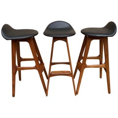 Set of Three Barstools by Erik Buck for Oddense Maskinsnederki A S