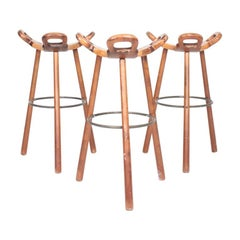 Set of Three Barstools, Made in Spain, 1960s