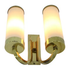 Set of Three Beautiful Art Deco/Bauhaus Brass Wall Lamps / Scones, 1930s
