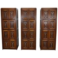 Set of Three Belgium Oak Filing Cabinets / Bank of Drawers, circa 1950s