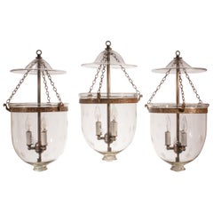 Set of Three Bell Jar Lanterns with Star Etching