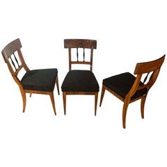 Set of Three Biedermeier Chairs, Walnut Veneer, Velvet, South Germany circa 1820