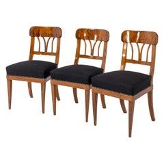 Set of Three Biedermeier Walnut Chairs, Around 1830