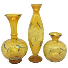 Set of Three Bimini Style Art Glass Vases, Mid-20th Century