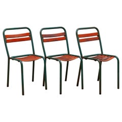 Set of Three Bistro Outdoor Chairs, France, 1930s