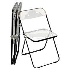 Set of Three Black and Transparent Plia Chairs Giancarlo Piretti for Castelli